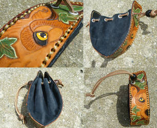 For sale: Cinch rune bag- wolf and ivy by cloudstar-wolf