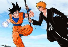 Goku Vs Ichigo by sub-z