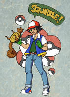 Ash and Squirtle by Mellish