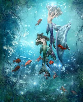 Mermaids Dance by KarinClaessonArt