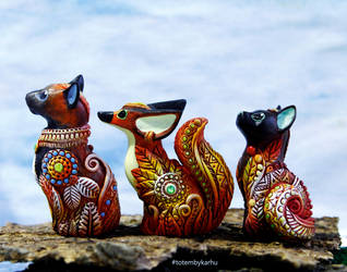 Fennec and Cats Totem Figurines by nicsadika