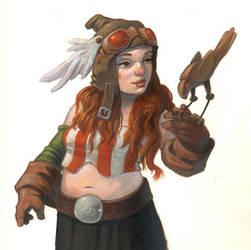 Redhead with mechanical bird by MaxHierro