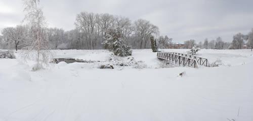 Snowy Bridge Winter Background by Archangelical-Stock