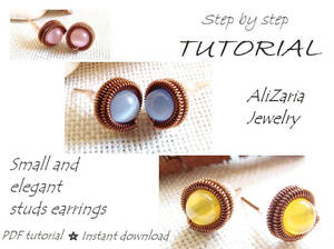 Tutorial small stud earrings - wire wrapping by AliZariaJewelry