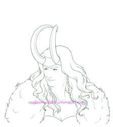 Lady Loki - Lineart by MerianMoriarty