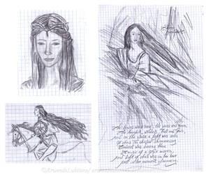 Old work - Luthien, Galadriel and Warrior Queen by ArwendeLuhtiene