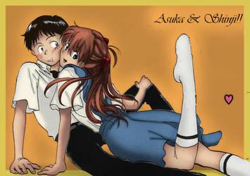 Asuka y Shinji - Evangelion by Asuka-Renge