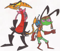 Invader Ratchet and Zim n' Gir by DoofenEmpire