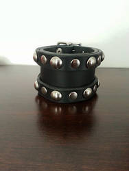 Leather Dome rivet Rocker Cuff by Vkarmoury