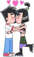 Danny and Sam Kissing by nintendomaximus