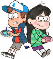 Dipper and Candy Playing Monstermon by nintendomaximus
