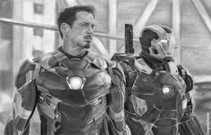 Pencil Drawing: Iron Man and War Machine by DegasClover