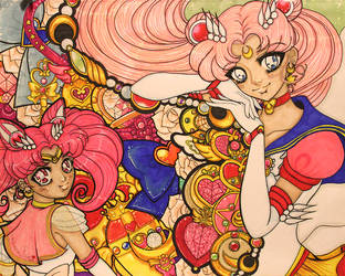 Eternal Sailor Moon and Super Sailor Chibi Moon by shabukib