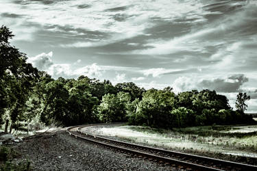 Railroad into trees by AaronsLens