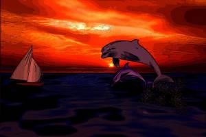 Gorgeous Dolphin Sunset Paint Design by TheAprilJoy
