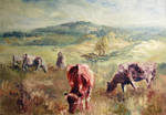Landscape with  cattle by modliszqa