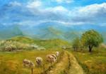 a flock of sheep by modliszqa