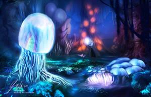 Mushroom forest at night by mayshing
