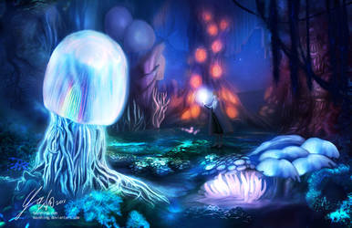 Mushroom forest at night by mayshing
