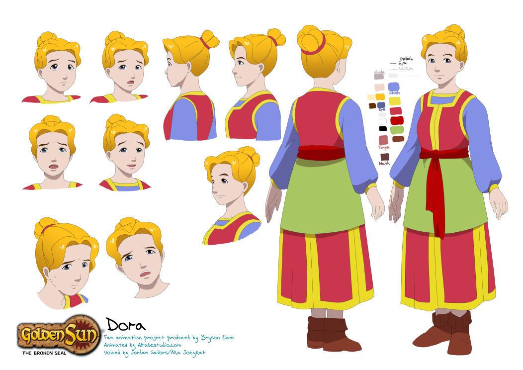 Commission: Golden Sun - Design Dora color sheet by mayshing