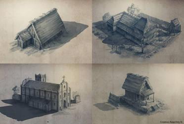 Shogun 2 buildings by RadoJavor