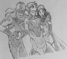 Three Best Friends: Bunker, Beast Boy, and Raven by KyronicArtist