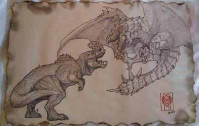 Anjanath Vs Rathalos by LycanthropeHeart