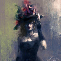 Woman with Hat by buriedflowers