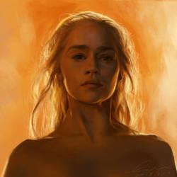 Daenerys digital painting by buriedflowers