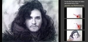 Jon Snow Charcoal Portrait by theportraitart