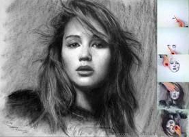 Drawing Jennifer Lawrence Upside Down by theportraitart