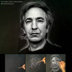 Alan Rickman / Snape Portrait on black paper by theportraitart