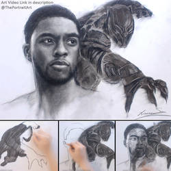 Black Panther Charcoal Portrait Drawing by theportraitart