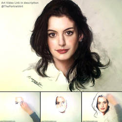 Anne Hathaway Portrait in Pastel by theportraitart