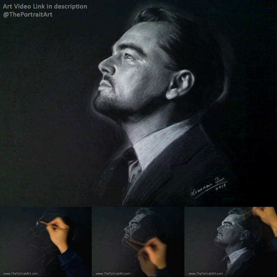 Leonardo Dicaprio Portrait on black paper by theportraitart