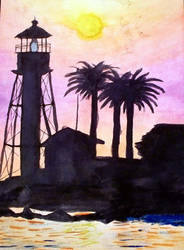 Lighthouse Water Color by KuroTenshi