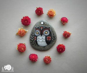 Amaranth Moon Folk Owl with Gold Eyes by JillHoffman