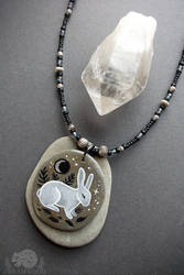 White Rabbit, Silver Moon Stone Pendant Necklace by JillHoffman