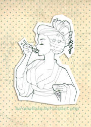 Geisha Eating Sushi by Havanachan