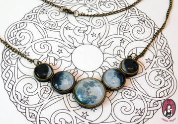 Phase of the Moon statement necklace by BlitheMagic
