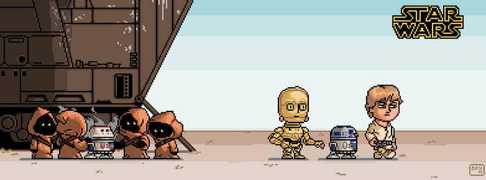 Star Wars Episode IV scene - pixel art by DanOcean