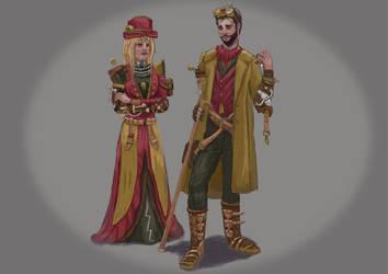 Sherlock and Watson steampunk by MiekeYperman