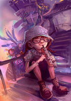 The girl and melodian by r-pre