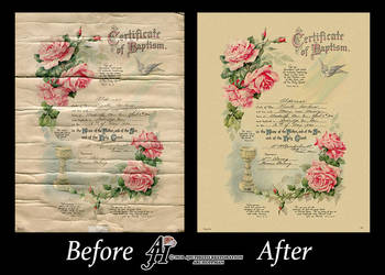 Baptism Certificate Photo Restoration by arihoff