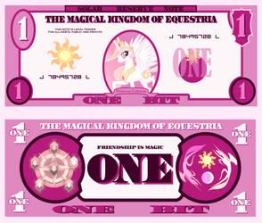 Princess Celestia 1 bit bill by cradet