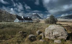 a lonely house on a background highlands by AlexGutkin