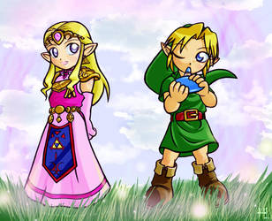 Zelda: Chibi Link and Zelda by Nacrym