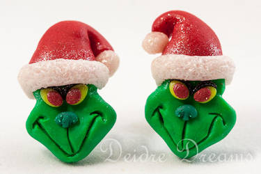 The Grinch Stud Earrings Polymer Clay by DeidreDreams
