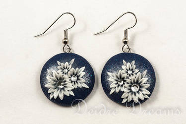 Snowy Nights Art Deco Flower Earrings by DeidreDreams