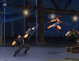 Sprite Stuff: Punisher vs Revy by SXGodzilla